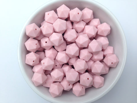 17mm Powder Pink ICOSAHEDRON Silicone Beads