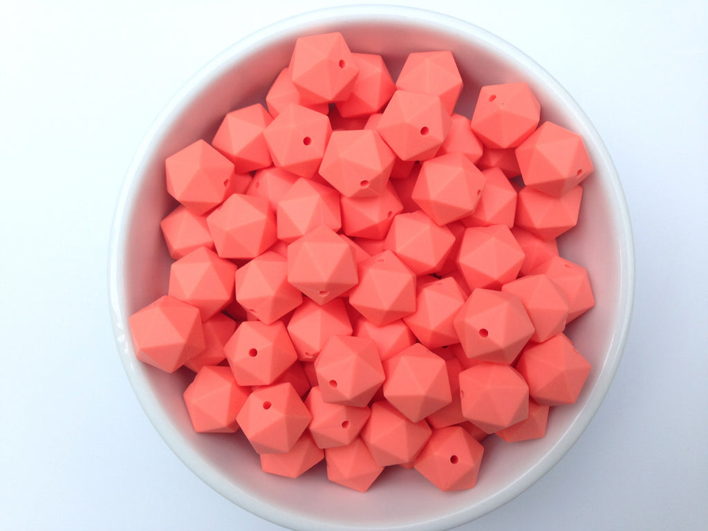 17mm Salmon ICOSAHEDRON Silicone Beads