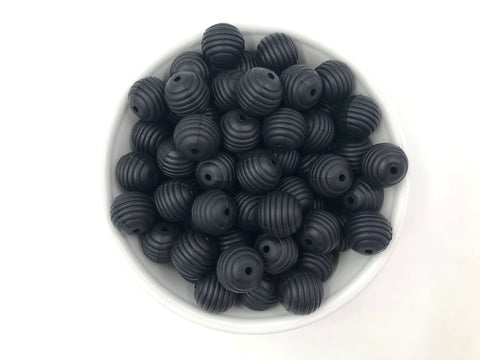 15mm Black Silicone Beehive Beads