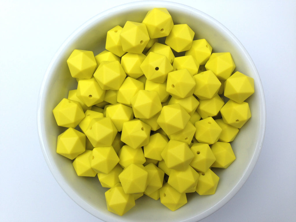 17mm Lemon Yellow ICOSAHEDRON Silicone Beads