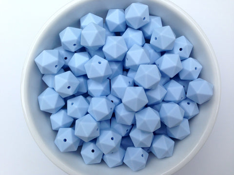 17mm Baby Blue ICOSAHEDRON Silicone Beads