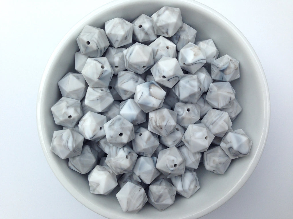 17mm Marble ICOSAHEDRON Silicone Beads