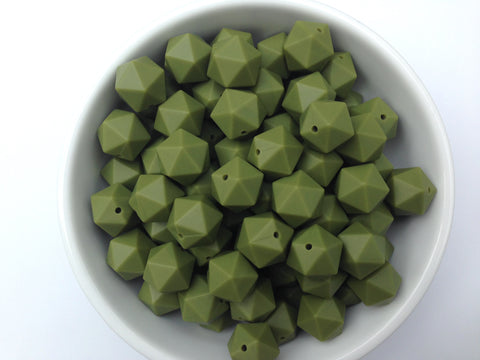17mm Army Green ICOSAHEDRON Silicone Beads