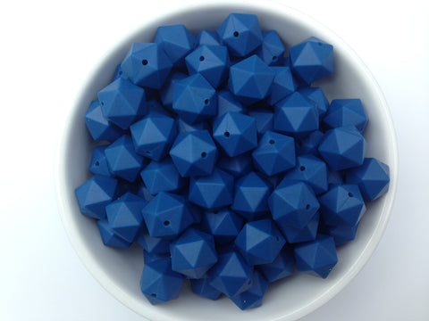 17mm Sapphire Blue ICOSAHEDRON Silicone Beads