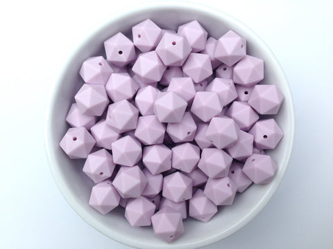 17mm Lilac ICOSAHEDRON Silicone Beads