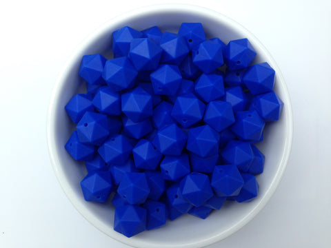 17mm Royal Blue ICOSAHEDRON Silicone Beads