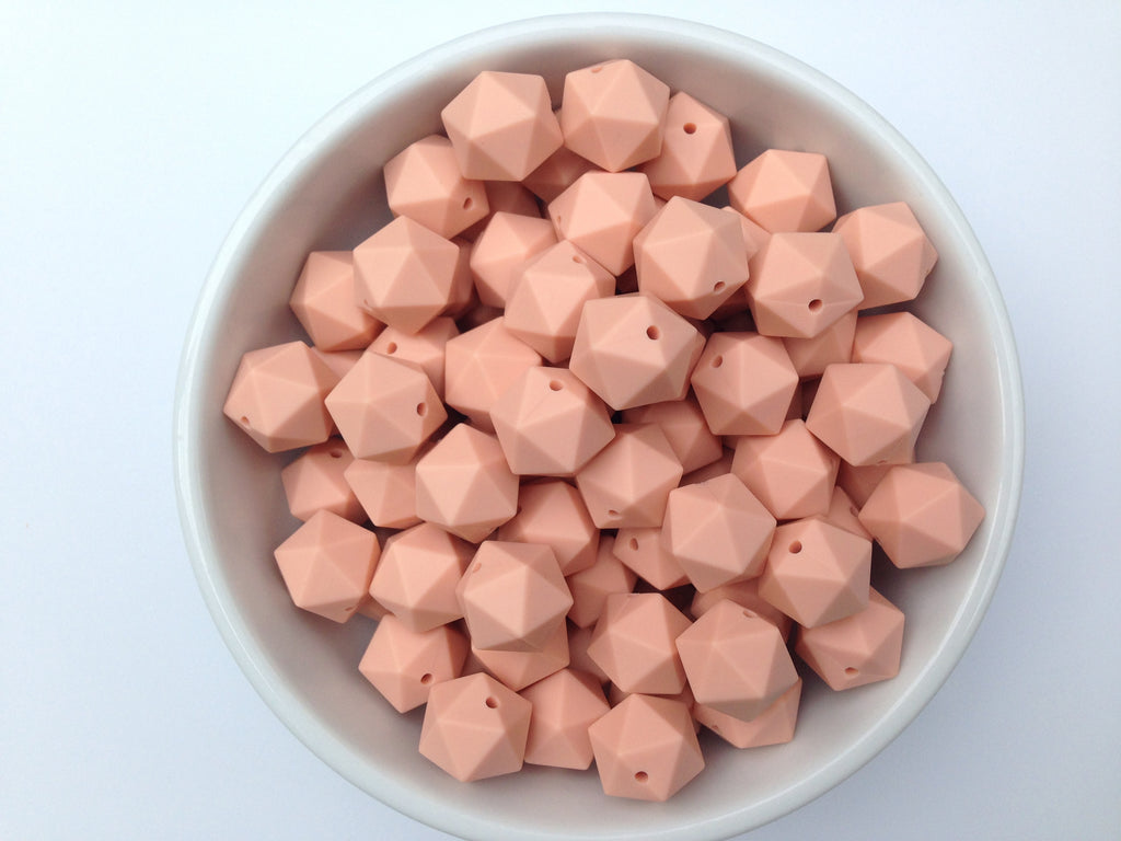 17mm Peach ICOSAHEDRON Silicone Beads