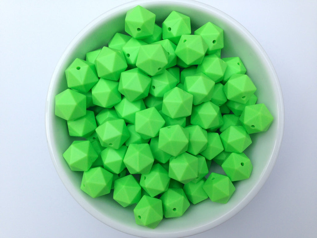 17mm Key Lime ICOSAHEDRON Silicone Beads
