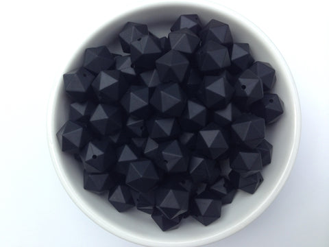 17mm Black ICOSAHEDRON Silicone Beads