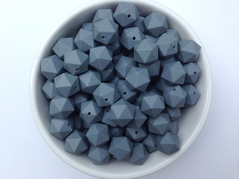 17mm Gray ICOSAHEDRON Silicone Beads