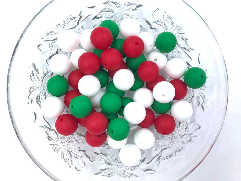 Red, Green & White Mix, 50 or 100 BULK Round Silicone Beads