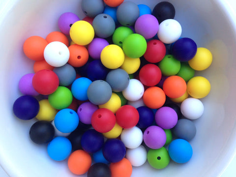 Primary Rainbow 50 or 100 BULK Round Silicone Beads