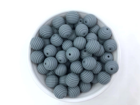 15mm Gray Silicone Beehive Beads