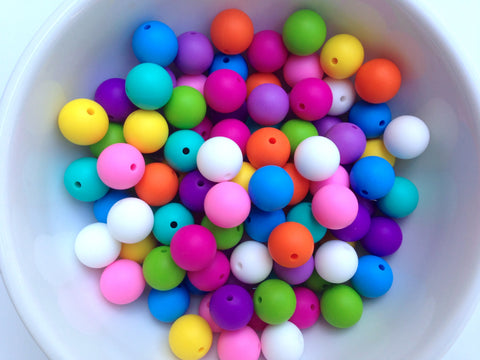 Pink Rainbow 50 or 100 BULK Round Silicone Beads