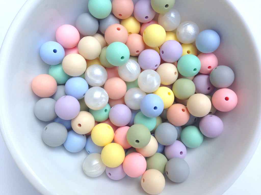 Pastel Mix 50 or 100 BULK Round Silicone Beads