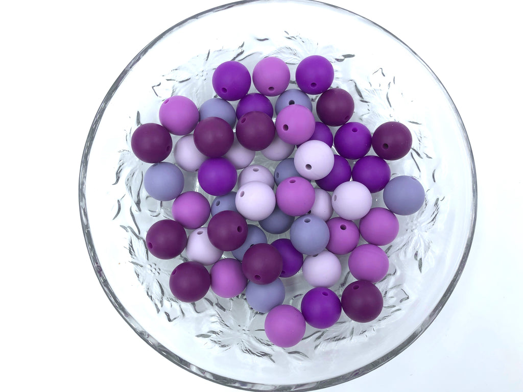 Shades of Purple Mix, 50 or 100 BULK Round Silicone Beads