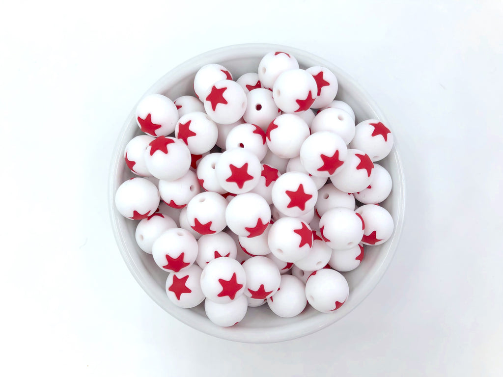 Limited Edition!   15mm White and Red Star Silicone Beads