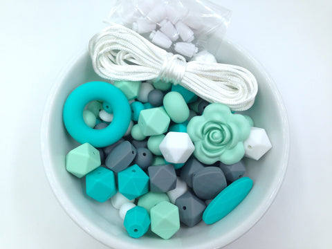 Mint, White, Gray & Turquoise Bulk Silicone Bead Mix