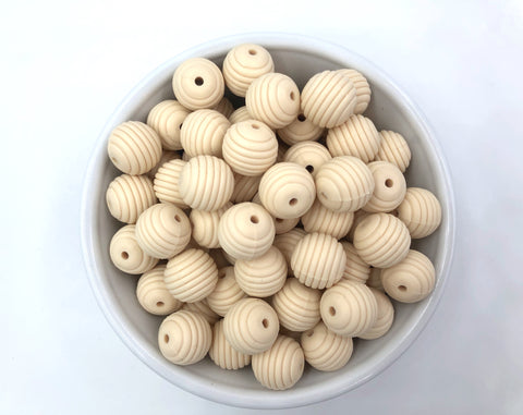 15mm Beige Silicone Beehive Beads