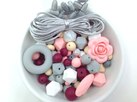 Pink Quartz, Wine, Gray, Beige and Pearl White Silicone Bulk Beads