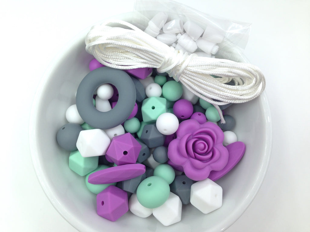 Mint, Purple, Gray & White Silicone Bulk Beads