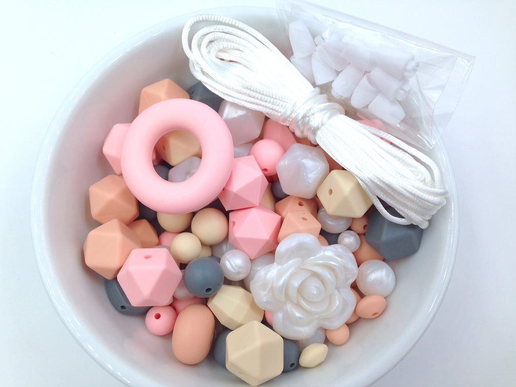 Pink Quartz, Peach, Gray, Beige and Pearl White Silicone Bulk Beads