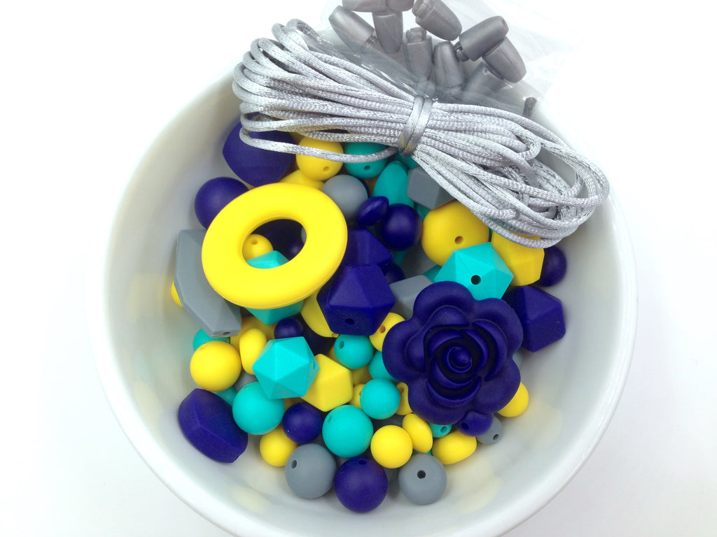 Navy, Turquoise, Yellow & Gray Silicone Bulk Beads,