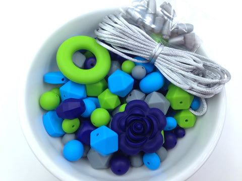 Blue, Green & Gray Bulk Silicone Bead Mix