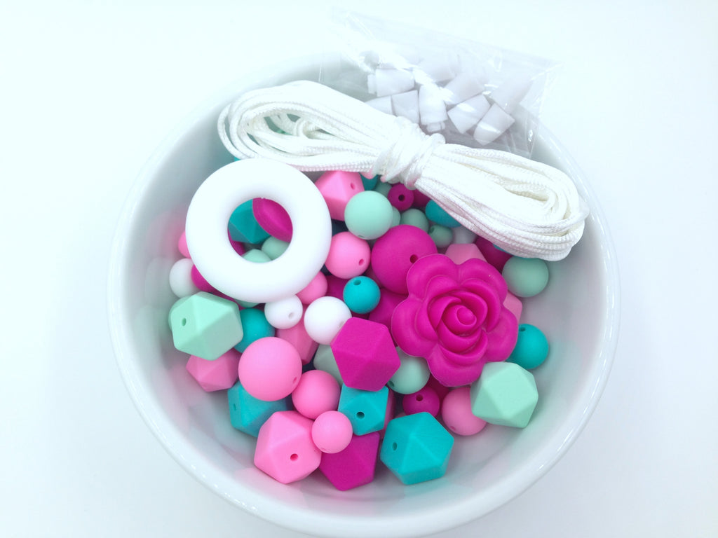 Pink, Mint, White & Turquoise Silicone Bulk Beads