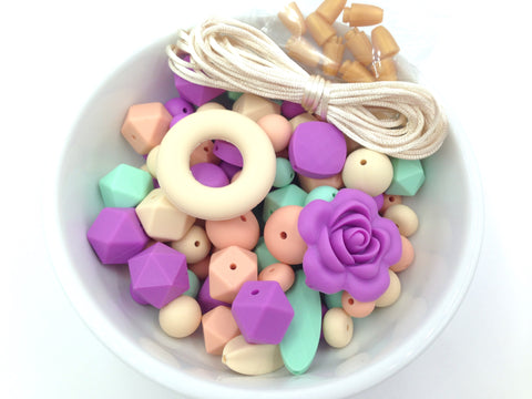 Beige, Mint, Purple, & Peach Silicone Bulk Beads