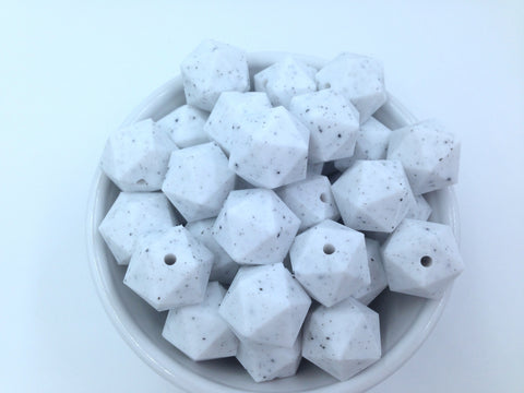 20mm Speckled ICOSAHEDRON Silicone Beads