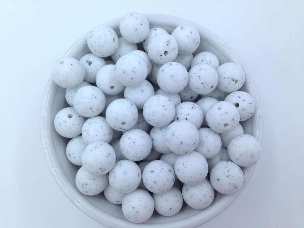 15mm Speckled Silicone Beads