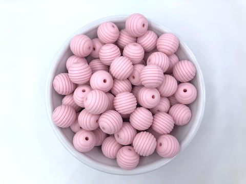 15mm Powder Pink Silicone Beehive Beads
