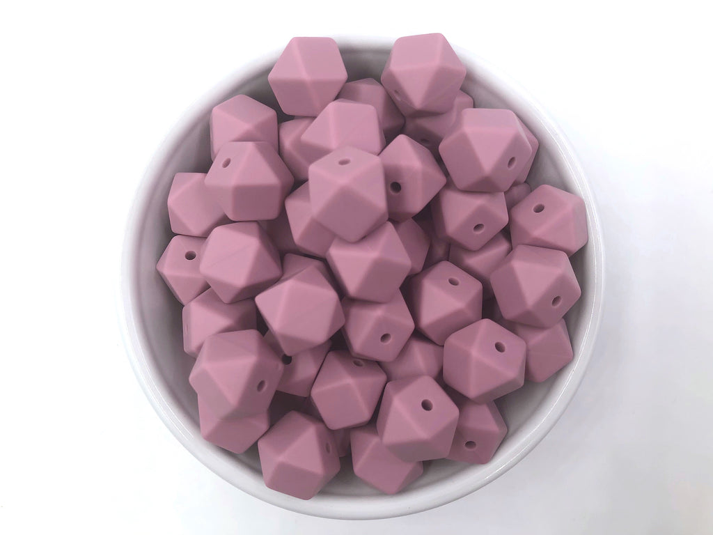 14mm Mauve Mini Hexagon Silicone Beads