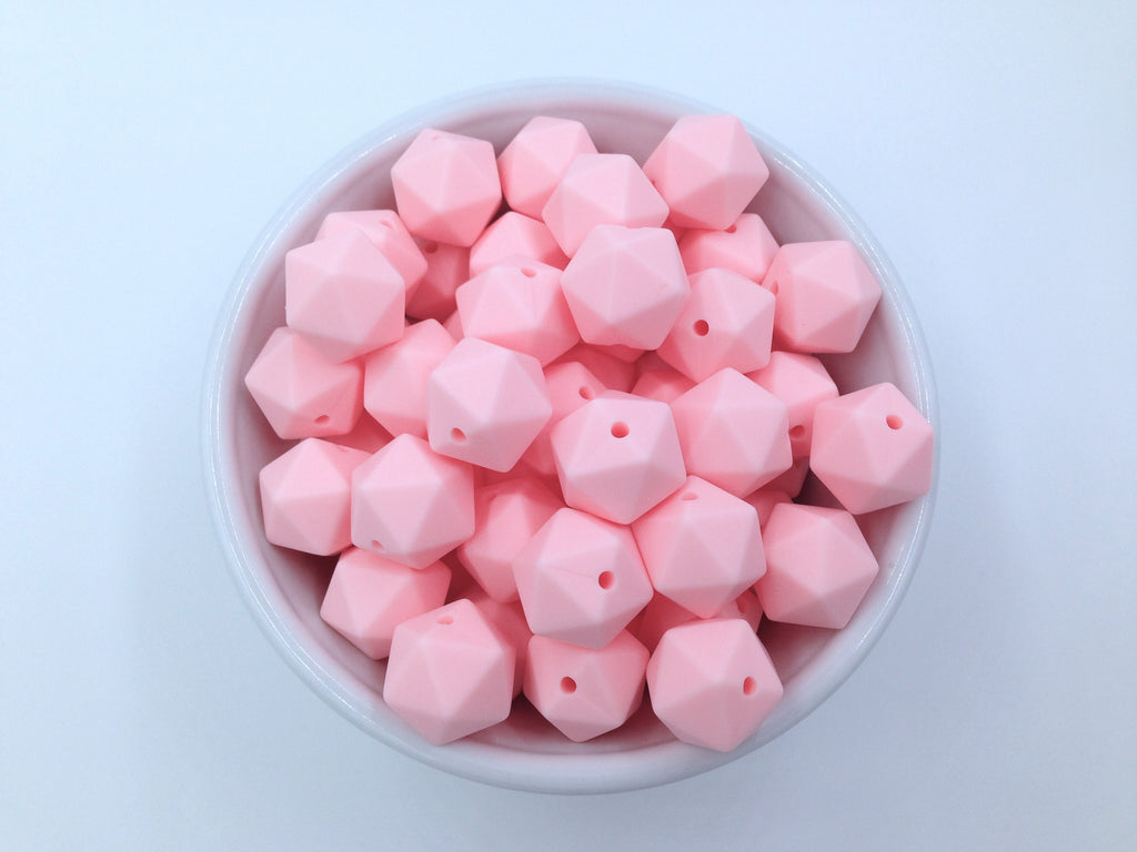 14mm Pink Quartz Mini Icosahedron Silicone Beads