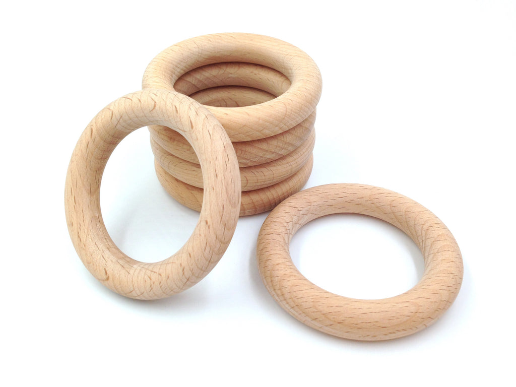 70mm Natural BEECH Wood Teething Rings