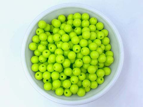 9mm Chartreuse Green Silicone Beads