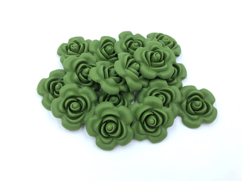 40mm Army Green Silicone Flower Bead