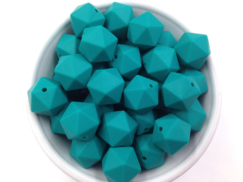 17mm Emerald ICOSAHEDRON Silicone Beads