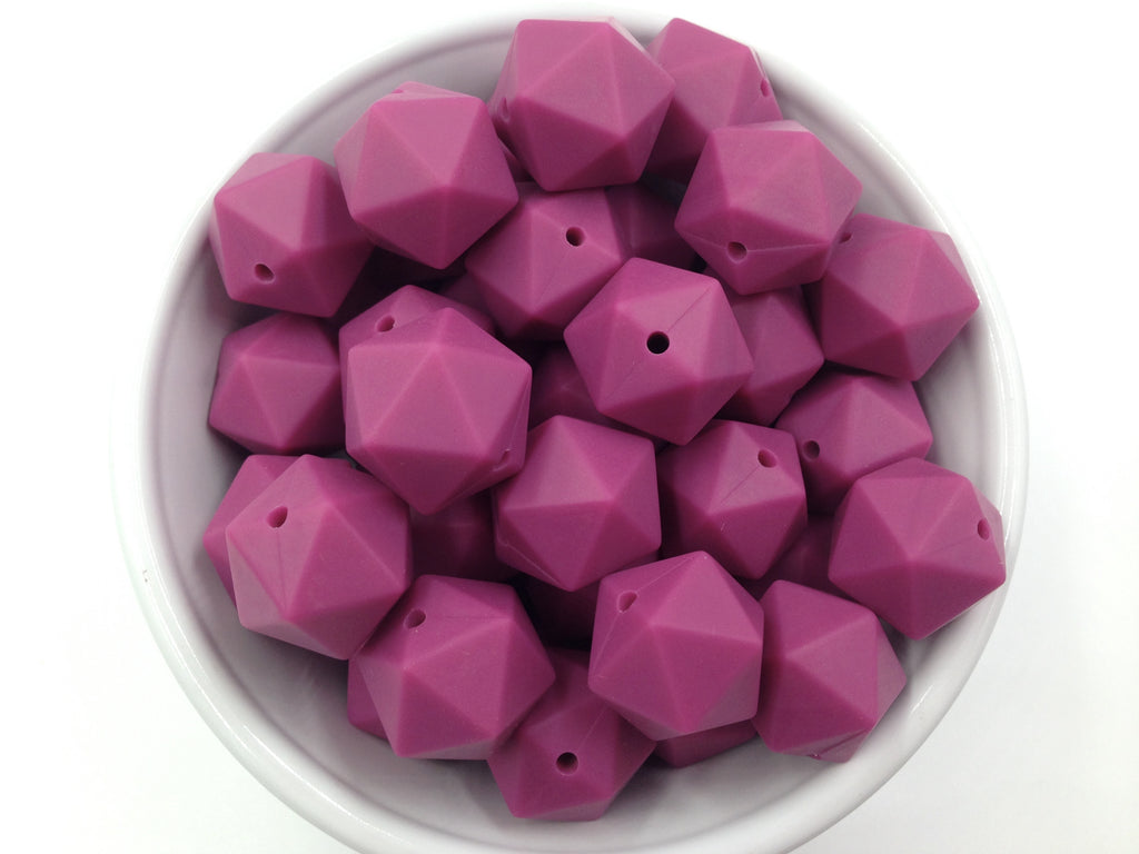 17mm French Plum ICOSAHEDRON Silicone Beads