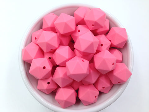 17mm Perfectly Pink ICOSAHEDRON Silicone Beads