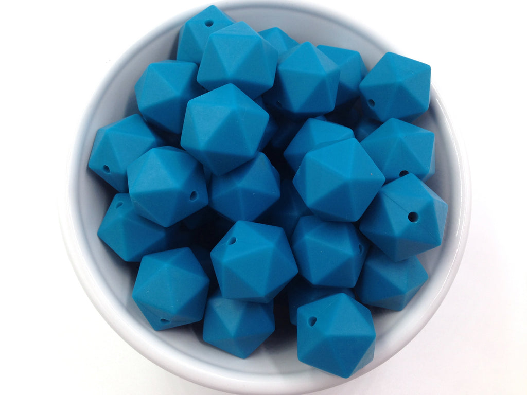 17mm Teal Blue ICOSAHEDRON Silicone Beads