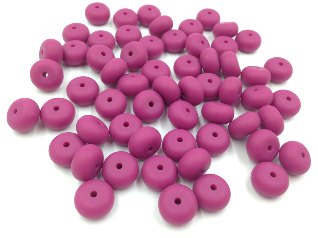 French Plum Mini Abacus Silicone Beads