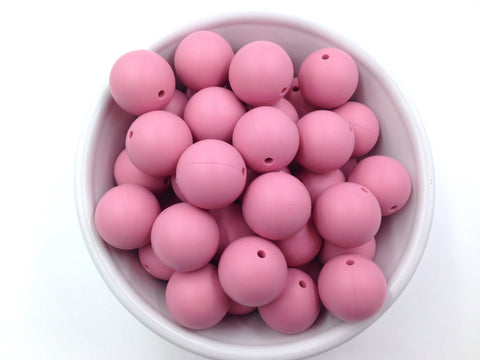 19mm Dusty Rose Silicone Teething Beads