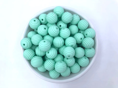 15mm Mint Silicone Beehive Beads