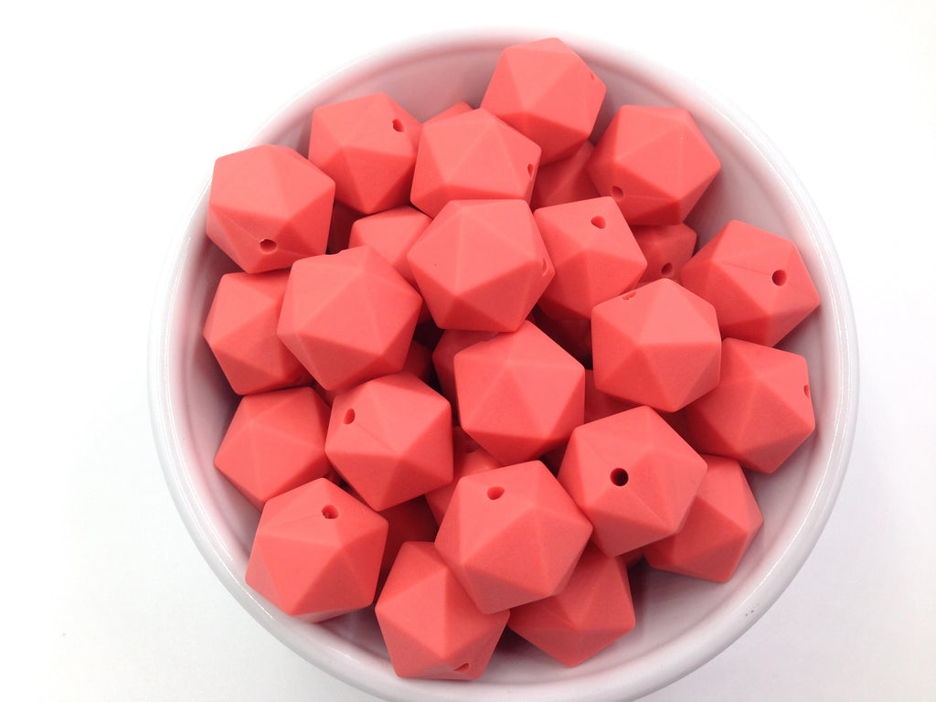 17mm Coral ICOSAHEDRON Silicone Beads