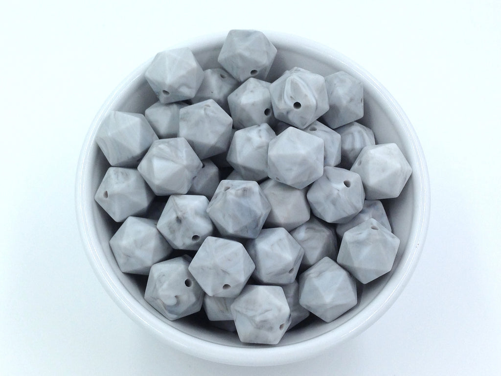 14mm Marble Mini Icosahedron Silicone Beads