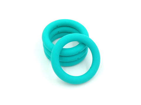 65mm Turquoise Silicone Teething Ring With Holes