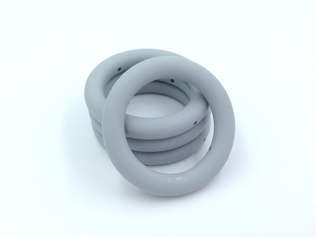 65mm Light Gray Silicone Teething Ring With Holes