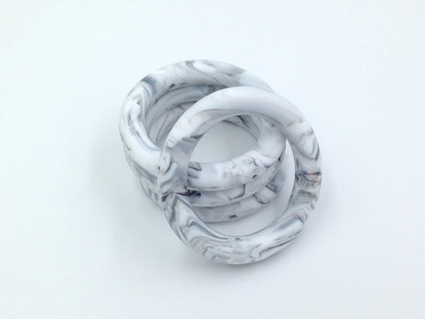 65mm Marble Silicone Teething Ring With Holes